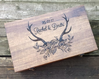 Rustic wedding wine box, advice card box, memory box, first fight box, love letter ceremony, anniversary, wedding or housewarming gift