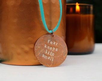 Fear Not Conquering Jewelry Fearless Overcome Necklace Fear Keeps Life Small Scripture Conqueror Inspirational Encouragement Quote Words