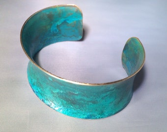 Patina Concave Cuff Turquoise Bracelet Hand Painted Jewelry Brass