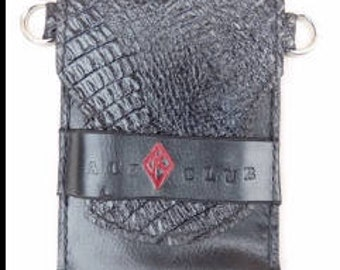 Leather Art Stogie Carrier with Black Croc Overlay