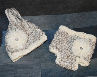 Crochet diaper cover and pixie hat for baby/0-3months/greys & whites/flower/jewel/ready to ship