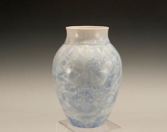 Blue Crystalline Pottery By Steve Wright Crystalline Potter, Light Blue Crystalline Glaze on Hand Thrown Porcelain Vase
