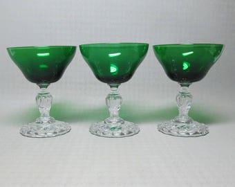 three glasses Anchor Hocking Burple champagne glass