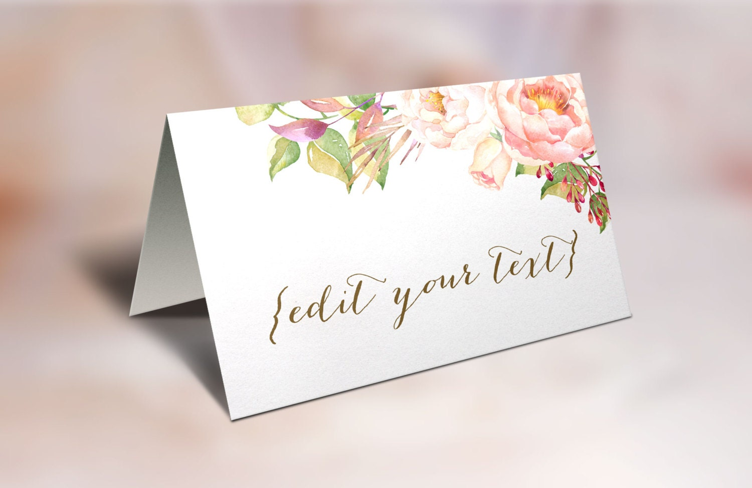 ?zoom & Printable Place Cards Wedding place cards Floral Place Cards