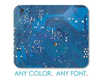 "Custom Mouse Pad - Personalized Monogram  - 1/4"" Thick - Full Color Mousepad - Any Design - Blue Circuit Board"