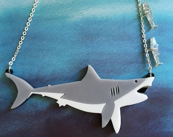 Laser Cut Great White Shark Necklace Large Statement Acrylic Necklace