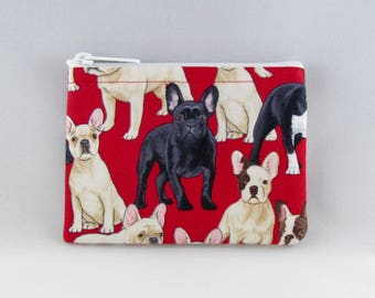 French Bulldogs Red Coin Purse - Coin Bag - Pouch - Accessory - Gift Card Holder