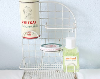 Rare Vintage Dutch Zwitsal Baby Metal Rack, Powder, Soap, Oil and Unguent Holder, Baby Room Decor