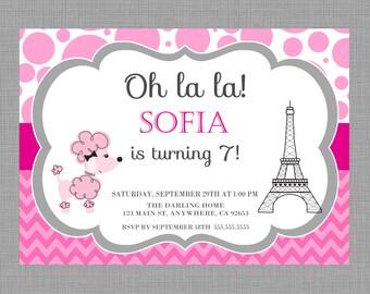 Paris Invitation, Paris invitation, Paris invite, Paris invitation, Paris Party, Eiffel Tower, 1st Birthday Party, DIY