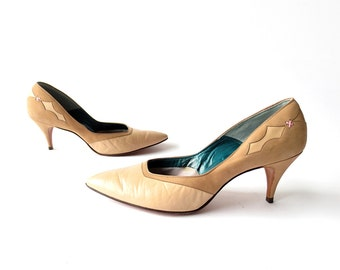 Vintage Stiletto Pumps   1950s Heels   Two Tone Leather Heels   Size 8