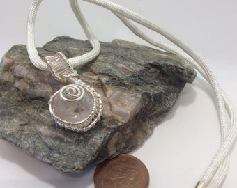 Wire wrapped coated quartz raw nugget pendant necklace