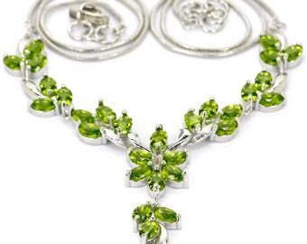 "Sterling Silver Green Peridot Gemstone Necklace 20"""