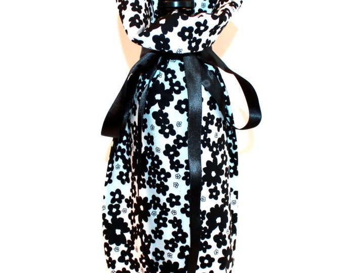 WINE GIFT BAG ~ Black and White Floral ~ Sack ~ Tote ~ Bell Art Designs WB58