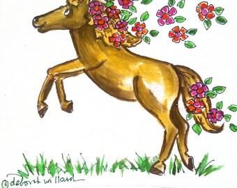 Flower Power Horse Hand Painted on Tshirt or Sweatshirt