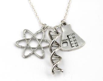 Atom, DNA Double Helix, Beaker Necklace, Science Necklace, Geekery Jewelry, Biochemistry Charm, Laboratory, Chemistry Gift, Graduation Gift