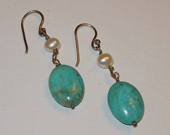 Handmade Earrings of Turquoise and Freshwater Pearls - Pierced