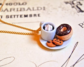 Handmade miniature polymer clay coffee mug and donut necklace - miniature food jewelry, coffee necklace, croissant jewelry