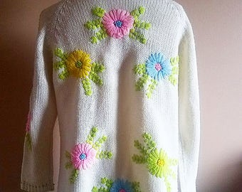 1960's Embroidered Neon Bright Floral Cardigan