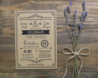 Printable Rustic Wedding Invitation - Custom
