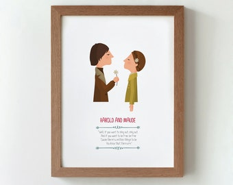 Illustration, Print, Harold And Maude, Hal Ashby, Tutticonfetti, Wall art, Art decor, Hanging wall, Printed art, Decor home, Gift idea.