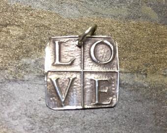 Fine silver LOVE pendant