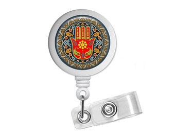 Hamsa Photo Glass / Bottle Cap Retractable ID Badge Reel