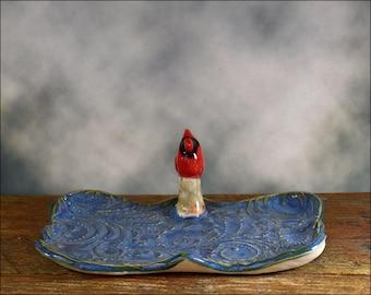 Rustic cardinal bird trinket dish or teabag holder high relief organic shaped trinket dish Anita Reay tea bag holder  red bird  blue dish