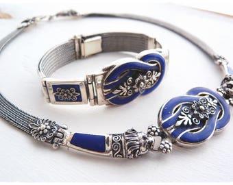Sterling silver and blue enamel necklace and bracelet set