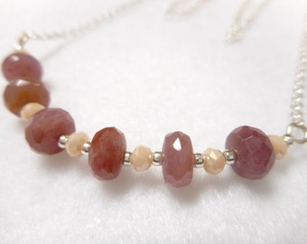 Necklace, Ruby Necklace, Gemstone Necklace, Chain Necklace, Beaded Necklace