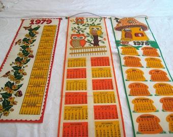 1977, 1978, 1979, felt hanging calendar, decorated, hand sewn sequins, vintage calendar, fabric calendar