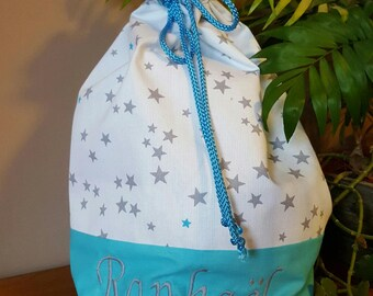 Bag backpack theme turquoise and grey stars