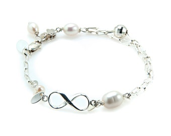 Bracelet 925 Sterling Silver with Freshwater Pearls and Infinity Symbol