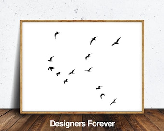 Birds Print - Printable Photo, Flying Birds Print, Flock Of Birds Wall Art, Minimalist Decor, Black And White Photo, Sea Print, Beach Photo