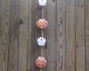 Vertical Rope Starfish, Sandollar, Scallop Door or Wall Hanging