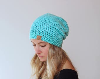 Turquoise - ACRYLIC Soft Light Weight Slouchy Beanie