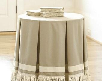 100% flax Designer fringed Tablecloth with grosgrain ribbon, European  linen table skirt