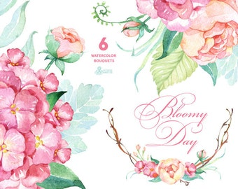 Bloomy Day: 6 Watercolor Bouquets, hydrangea, peonies, wedding invitation, floral frame, greeting card, diy clip art, flowers, mint and pink