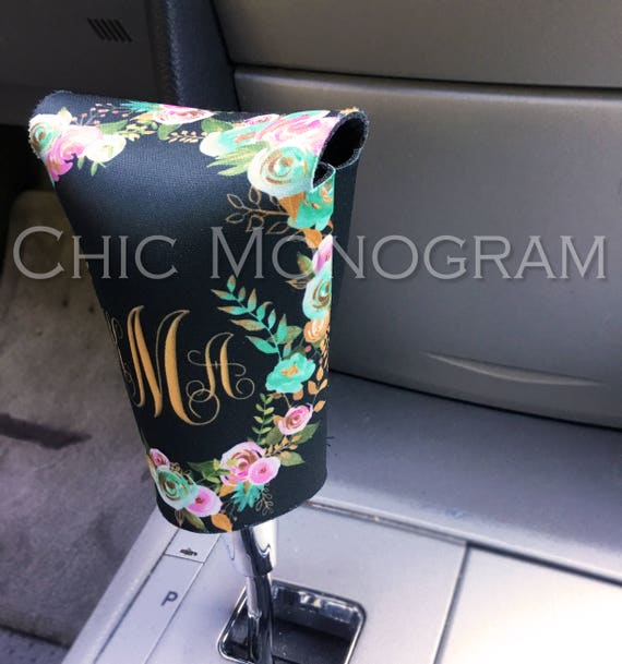 Monogrammed Gear Shift Cover Mint and Gold Floral Personalized Gear Shift Knob Cover Monogram Custom Gear Shifter Cover Cute Car Accessories