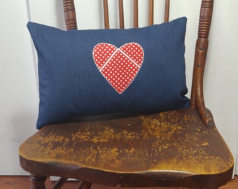Valentine Pillow Cover for Country Girl/Denim and Bandana Heart Cushion/Gift for Her/Western Theme/Love Pillow/Handmade Navy and Red