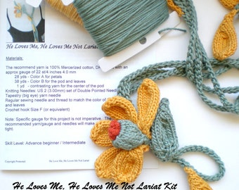 Fiber Art Floral Daisy Lariat Necklace Knitting Kit - Pick your Choice of Colors