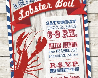 Lobster Invitation, Lobster Party Invitation, Crawfish Boil Invitation, Seafood Invitation, Lobster Boil Invitation, Lobster Birthday