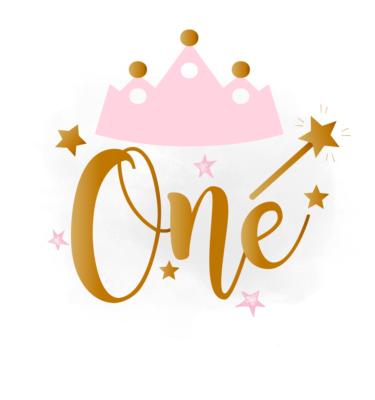 1st Birthday SVG Clipart, Baby Girl Birthday Crown