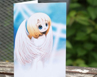 Cute Angel Girl Christmas Card, Original Character Illustration
