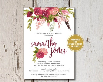 Printable Bridal Shower Invitation, Printed Rustic Bridal Shower Invites, Floral Wedding Shower Invites, Recipe Cards Recipe Poem for Bride