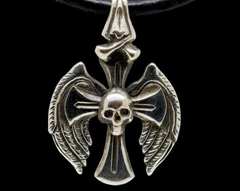 Cross Skull Pendant Angel Wings and Bones Gothic Jewelry Biker Sterling Silver