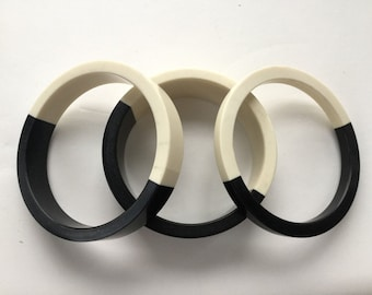 1960's Lot of 3 Black & White Lucite Stacking Bangle Bracelets, Mad Men Mod, Collectible Fun Jewelry