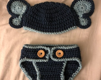 Blue Elephant Hat and Diaper Cover - Newborn