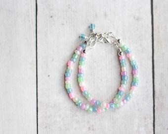 Rainbow Bracelet | Unicorn Gold Birthday Party Favor | Girl's Bracelet | Stacking Bracelet | Cake Smash | Gifts for sister | 1st Birthday