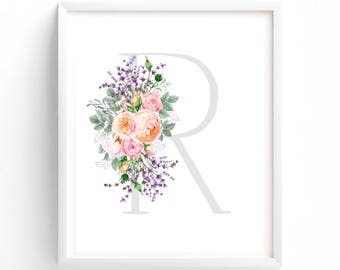 Letter R,  Floral Nursery Wall Art, Nursery Prints, Printable Letter Monogram, Floral, Flower Lettering, Nursery Art, Baby monogram