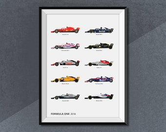 Formula 1 Race Car 2018 Collection Print, F1 Grand Prix Lineup 2018 Poster Art
